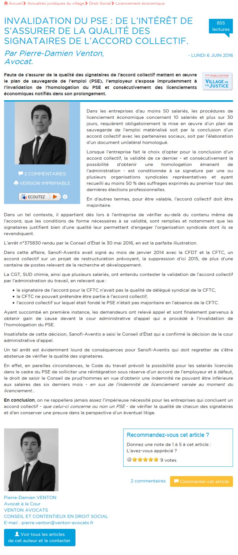 Invalidation du PSE : De l'intérêt de s'assurer de la qualité des signataires de l'accord collectif 1