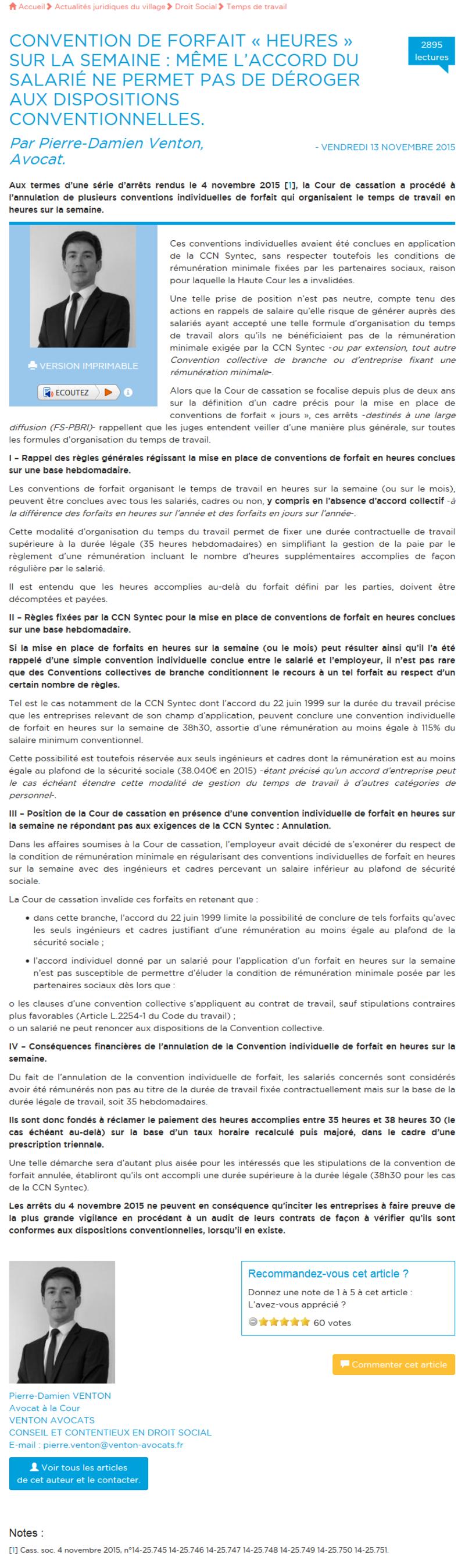 Convention de forfait « heures » sur la semaine : même l'accord du salarié ne permet pas de déroger aux dispositions conventionnelles 1